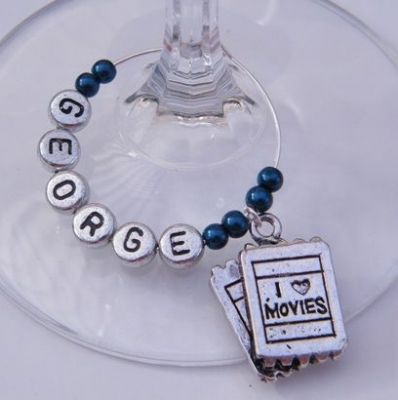Movie Tickets Personalised Wine Glass Charm